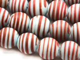 Blue w/Stripes Glass Beads 11-12mm (JV708)