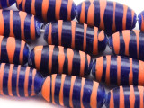 Cobalt Blue w/Stripes Glass Beads 18mm (JV710)