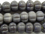 Purple Fluted Glass Beads 18mm (JV770)