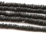 Matte Black Chip Disc Glass Beads 4-6mm (JV775)