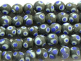 Matte Black w/Blue Glass Beads 8-10mm (JV786)