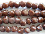 Brown Pentagonal Nugget Glass Beads 10mm (JV847)