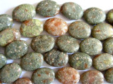 Epidote Oval Tabular Gemstone Beads 20mm (GS409)