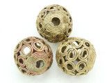 Giant Ornate Brass Ball Bead 32mm - Ghana (ME29)