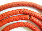 Coral Red Glass Snake Beads 8mm (AT68)