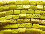 Old Yellow Glass Dice Trade Beads 8mm (AT128)