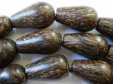 Coconut Wood Large Teardrop Beads 30mm - Indonesia (WD738)