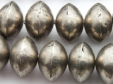Large Silver Metal Saucer Beads 28mm - Mali (ME64)