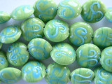 Lime w/Blue Tabular Lampwork Glass Beads 14mm (LW1040)