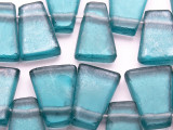 Light Blue Tabular Recycled Glass Beads 19-22mm - Indonesia (RG336)
