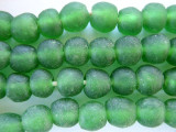 Green Recycled Glass Beads 12-15mm - Africa (RG391)