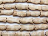 Light Tan Fish Carved Bone Beads 29-32mm (B7138)