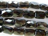 Smokey Quartz Faceted Rectangular Tabular Beads 14mm (GS643)