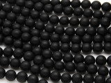 Matte Black Onyx Round Gemstone Beads 8mm (GS682)