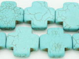 Turquoise Magnesite Cross Beads 25mm (GS767)