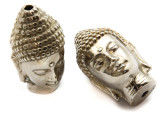 Buddha Amulet - Silver Plated Brass 48mm (AP811)