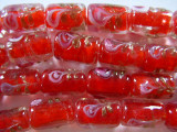 Red Cylinder Foil Glass Beads 16mm (LW1083)