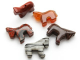Carved Stone Horse Beads - Set of 5 (AP737)