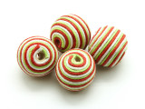 Cotton Wrapped Bead - White, Lime & Red 20mm (CT152)