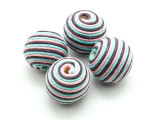 Cotton Wrapped Bead - Baby Blue, Navy & Pink 20mm (CT154)