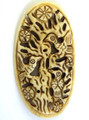 Carved Bird Bone Oval Pendant 70mm (AP1219)