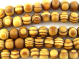 Swirled Round Wood Beads 9mm (WD831)