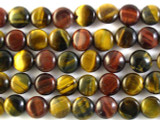 Mixed Tiger Eye Round Tabular Gemstone Beads 10mm (GS2743)