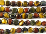 Mixed Tiger Eye Round Tabular Gemstone Beads 8mm (GS2745)