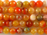 Orange Fire Agate Faceted Round Gemstone Beads 10mm (GS2785)