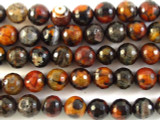 Multi-Color Fire Agate Faceted Round Gemstone Beads 10mm (GS2787)