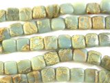 Aqua Terra Jasper Square Tabular Gemstone Beads 11mm (GS2814)