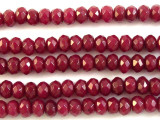 Ruby Jade Faceted Rondelle Gemstone Beads 6mm (GS2821)