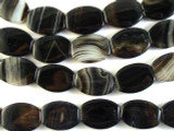 Black Agate Oval Tabular Gemstone Beads 20mm (GS2835)