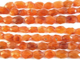 Carnelian Faceted Oval Tabular Gemstone Beads 7-12mm (GS2893)