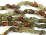 Rough Green & Red Garnet Nugget Gemstone Beads 11-18mm (GS2941)