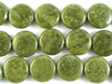 Green Agate Round Tabular Gemstone Beads 17mm (GS2943)