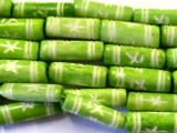 Lime Green Carved Bone Beads 22mm (B1205)
