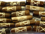 Brown Carved Bone Beads 19mm (B1220)