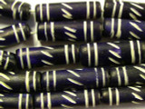 Dark Purple Carved Bone Beads 22mm (B1108)