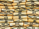 Yellow Carved Bone Beads 23mm (B1112)
