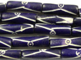 Dark Purple Carved Bone Beads 23mm (B1115)