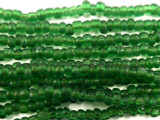 "Transparent Forest Green Glass Beads - 44"" strand (JV9031)"