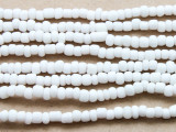 "White Glass Beads - 44"" strand (JV9033)"