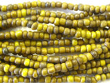 "Brown & Yellow Glass Beads - 44"" strand (JV9037)"