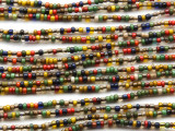 "Small Mixed Glass Beads - 44"" strand (JV9042)"