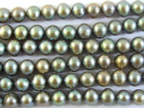 Green Tinted Metallic Potato Pearl Beads 6mm (PRL98)
