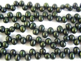 Deep Green Metallic End-Drilled Pearl Beads 7mm (PRL101)