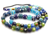 Green & Blue 'Eye' Graduated Glass Beads 6-15mm (JV794)