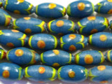 Teal w/Orange Polka Dots Glass Beads 17mm (JV810)