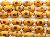 Yellow w/Blue Polka Dots Glass Beads 16mm (JV812)